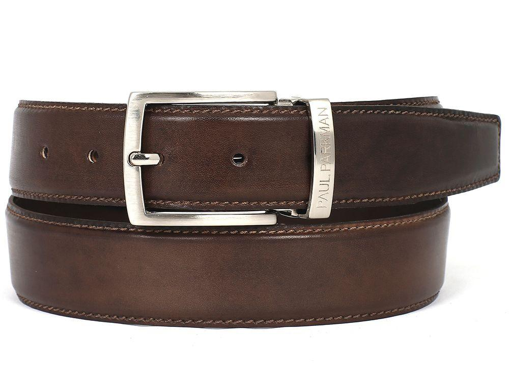 Men Fashion - PAUL PARKMAN Men's Leather Belt Hand-Painted Brown