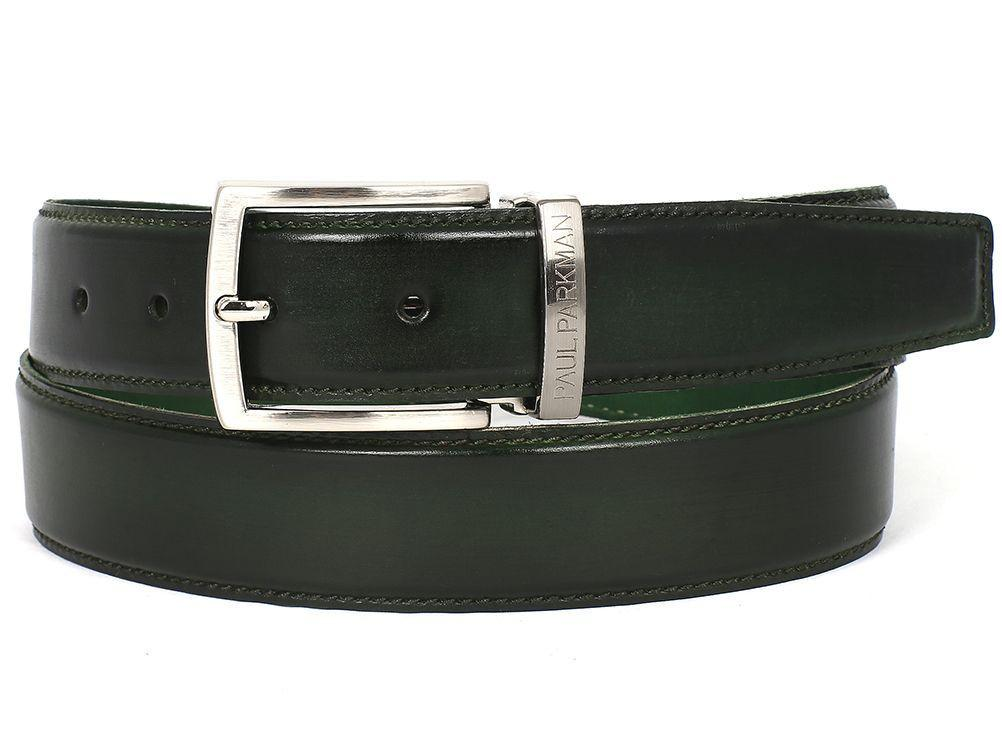 PAUL PARKMAN Men's Leather Belt Hand-Painted Dark Green (ID#B01-DARK-GRN)