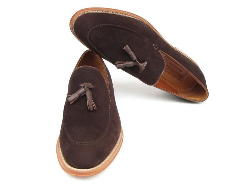 Paul Parkman Men's Tassel Loafer Brown Suede Shoes