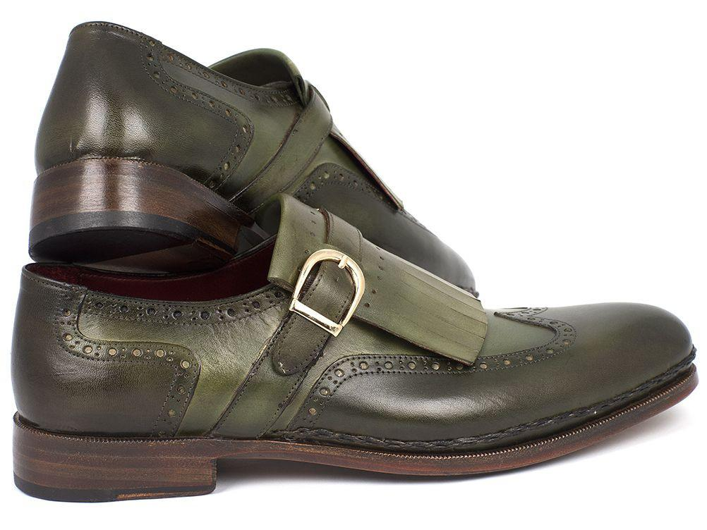Paul Parkman Men's Wingtip Monkstrap Brogues Green Hand-Painted Leather Upper With Double Leather Sole (ID#060-GREEN)