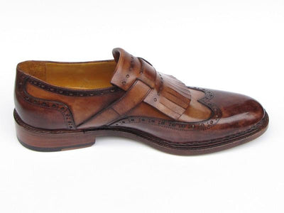 Men Fashion - Paul Parkman Men's Wingtip Monkstrap Brogues Brown Hand-Painted Leather Upper With Double Leather Sole