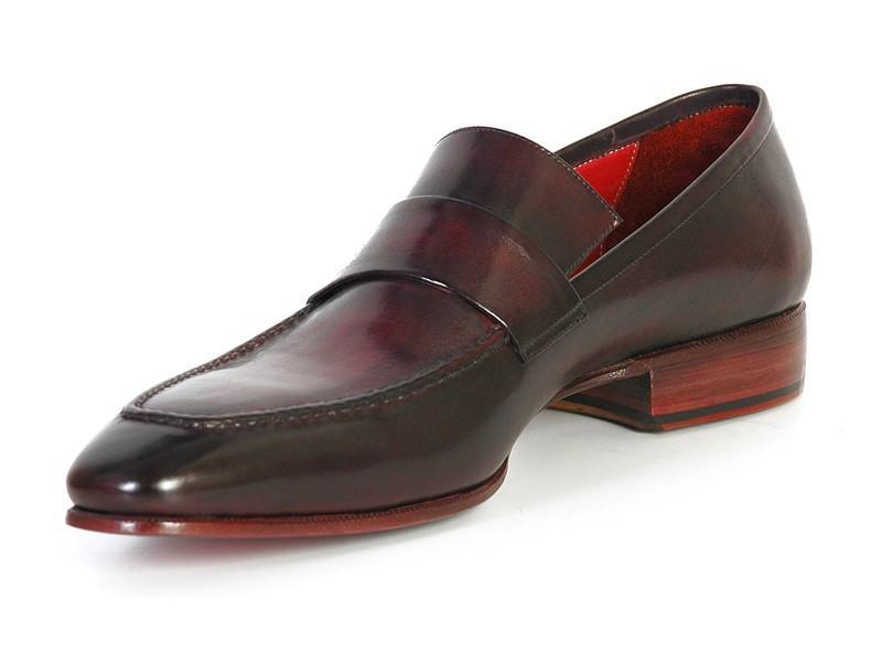 Paul Parkman Men's Loafer Purple & Black Hand-Painted Leather Upper with Leather Sole (ID#093-PURP-BLK)
