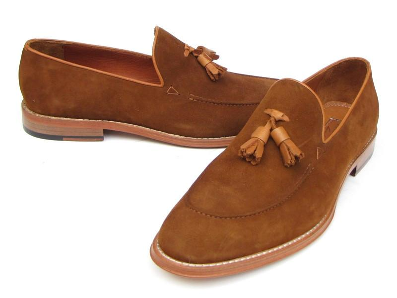 Paul Parkman Men's Tassel Loafer Tobacco Suede Shoes