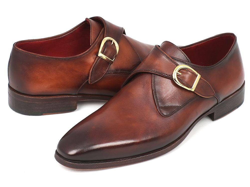 Men Fashion - Paul Parkman Monkstrap Dress Shoes Brown & Camel