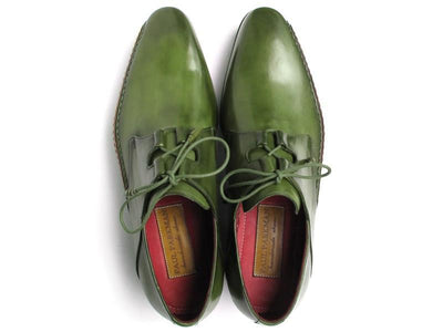 Men Fashion - Paul Parkman Men's Ghillie Lacing Side Handsewn Dress Shoes - Green Leather Upper and Leather Sole