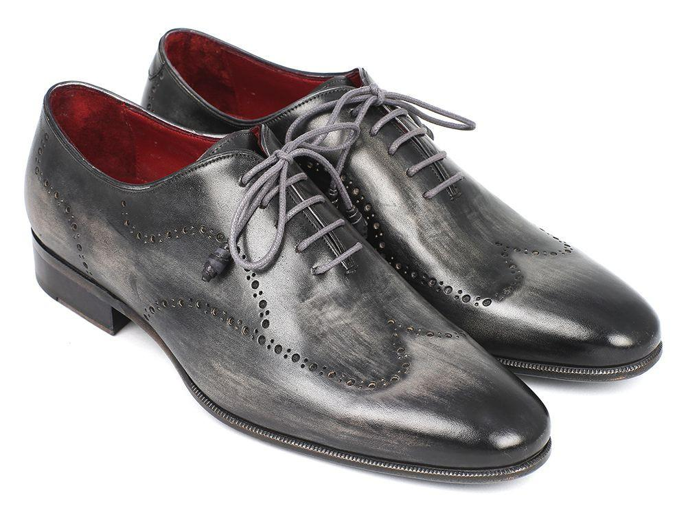 Men Fashion - Paul Parkman Wintip Oxfords Gray & Black Handpainted Calfskin