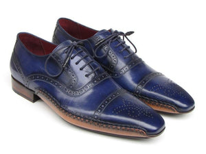 Paul Parkman Men's Captoe Navy Blue Hand Painted Oxfords (ID#5032-NAVY)