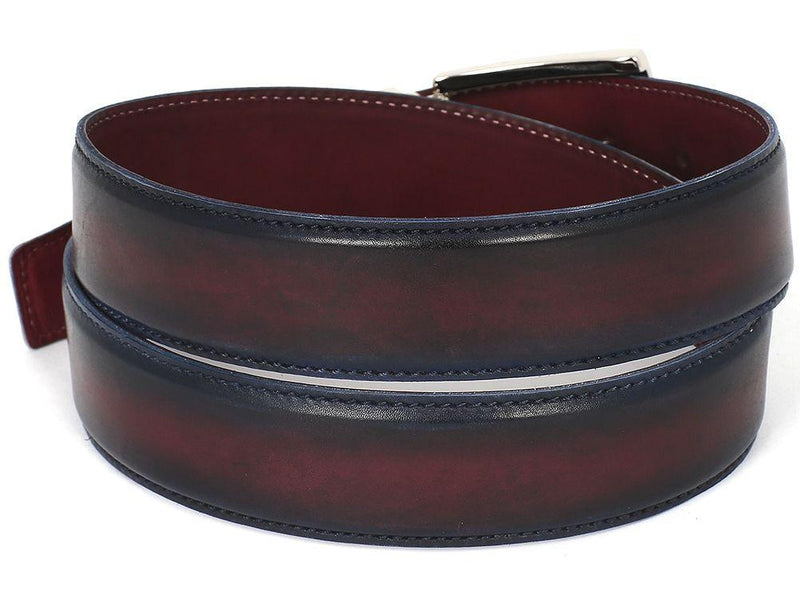 Men Fashion - PAUL PARKMAN Men's Leather Belt Dual Tone Navy & Bordeaux