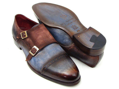 Men Fashion - Paul Parkman Captoe Double Monkstrap Antique Blue & Brown Suede