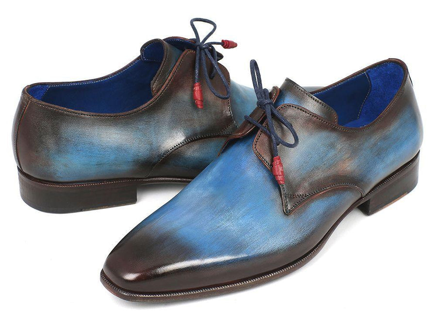 Paul Parkman Blue & Brown Hand-Painted Derby Shoes