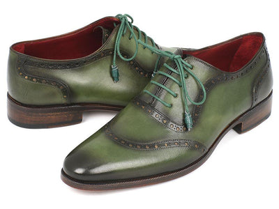 Men Fashion - Paul Parkman Men's Green Calfskin Oxfords