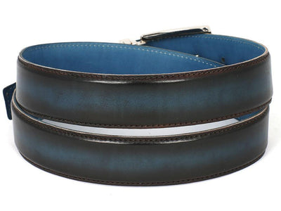 Men Fashion - PAUL PARKMAN Men's Leather Belt Dual Tone Brown & Blue