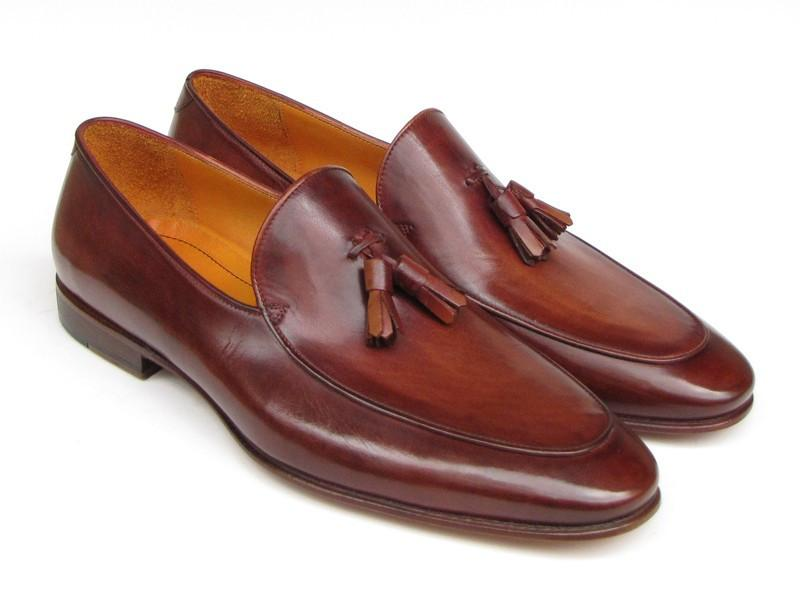 Paul Parkman Men's Tassel Loafer Brown Hand Painted Leather
