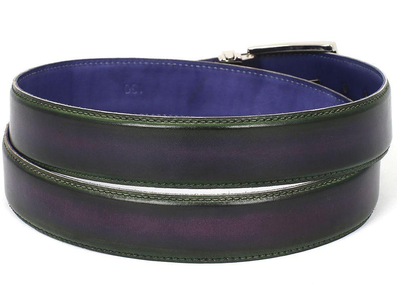 Men Fashion - PAUL PARKMAN Men's Leather Belt Dual Tone Green & Purple