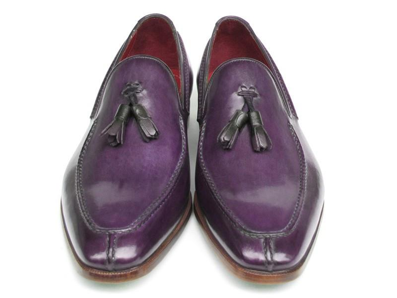 Paul Parkman Men's Tassel Loafer Purple Hand Painted Leather