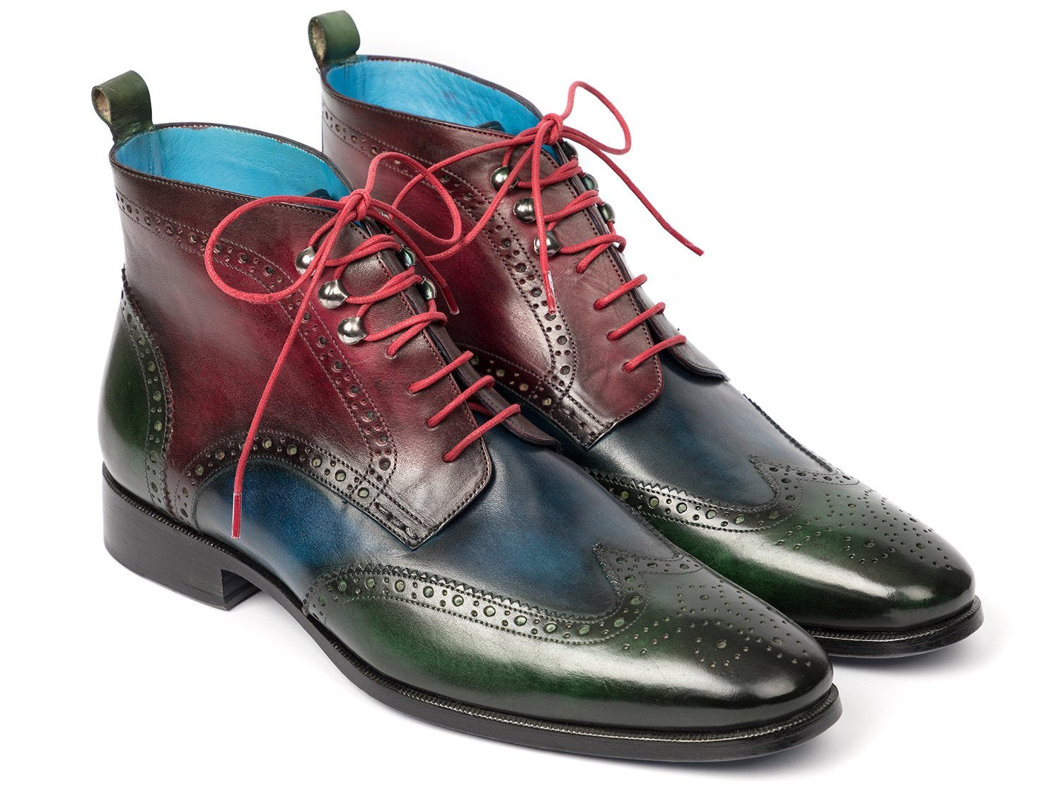 Paul Parkman Wingtip Ankle Boots Three Tone Green Blue Bordeaux (ID#777-GRN-BLU)