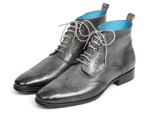 Paul Parkman Wingtip Ankle Boots Gray Hand-Painted (ID#777-GRAY)