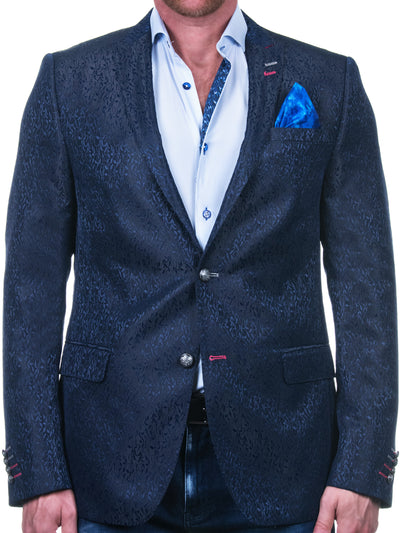 Maceoo Navy Blazer | Descartes Intensescrible Black