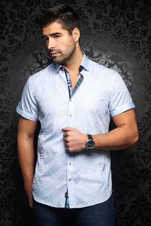 Au Noir Short-Sleeve Shirt | Filo Light Blue