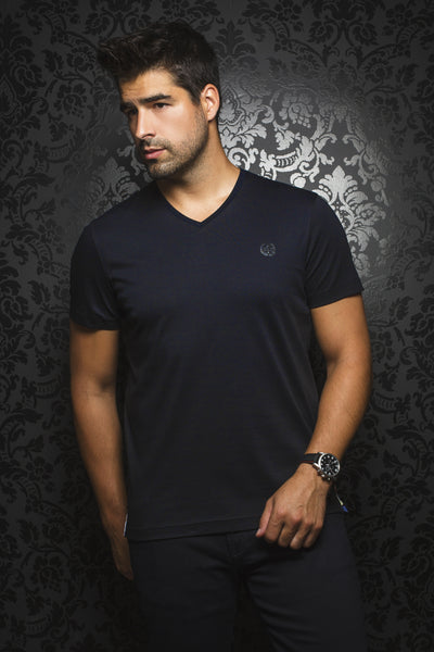 Men Fashion - Au Noir T-Shirt V-Neck - Michael Navy