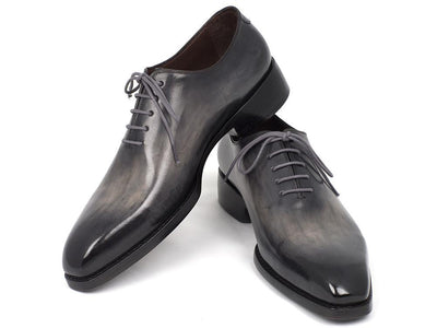 Men Fashion - Paul Parkman Goodyear Welted Wholecut Oxfords Gray Black Hand-Painted