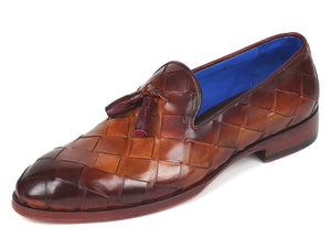 Paul Parkman Men's Big Braided Tassel Loafers Brown  (ID#6623-BRW)