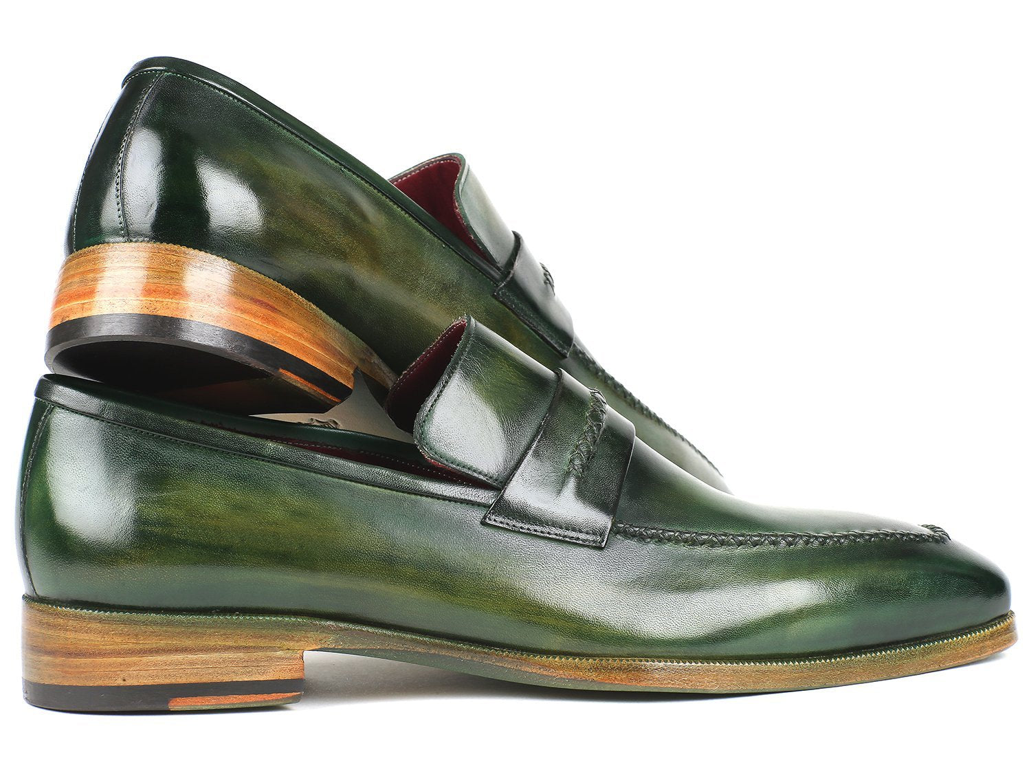 Paul Parkman Men's Loafer Shoes Green (ID#068-GRN)
