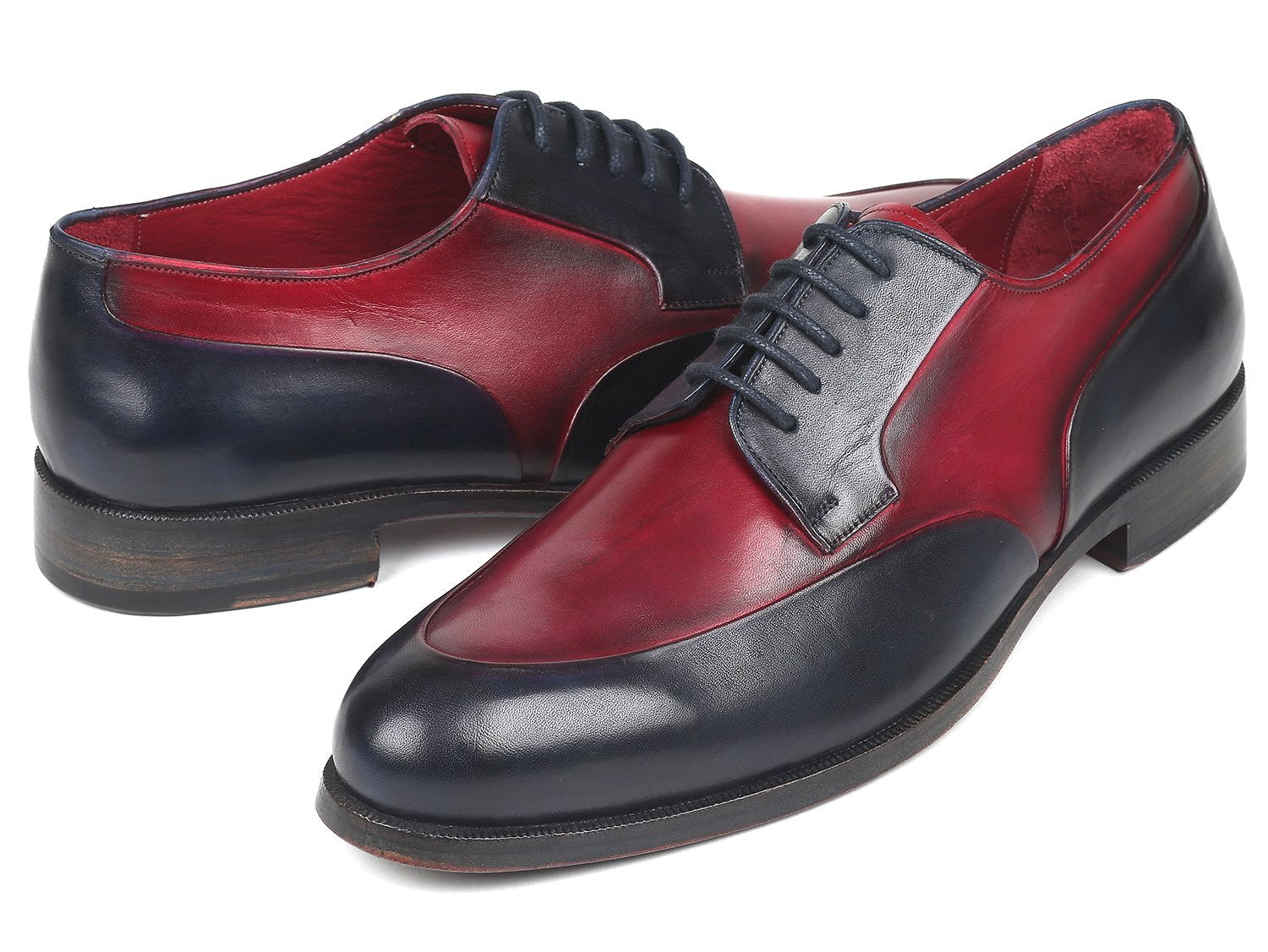 Paul Parkman Men's Bordeaux & Navy Derby Shoes (ID#993-BDNV)