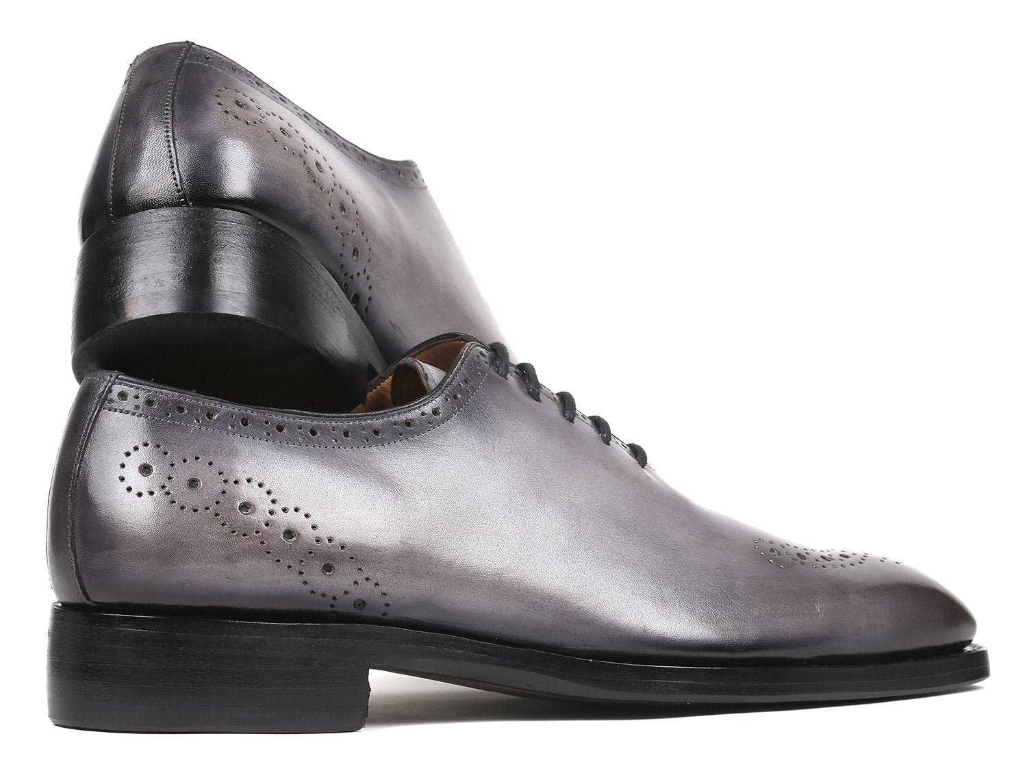Paul Parkman Goodyear Welted Punched Oxfords Gray (ID#7614-GRY)
