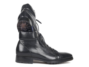 Paul Parkman Men's Side Zipper Leather Boots Black (12455-BLK)