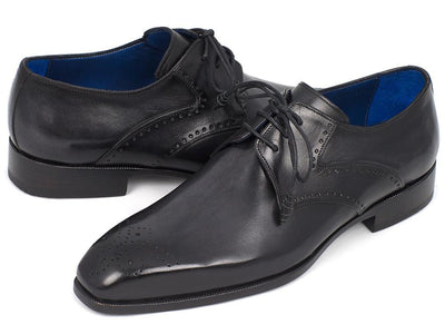 Men Fashion - Paul Parkman Men's Black Medallion Toe Derby Shoes
