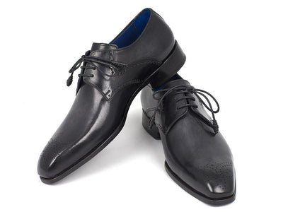 Paul Parkman Men's Black Medallion Toe Derby Shoes (ID#6584-BLK)