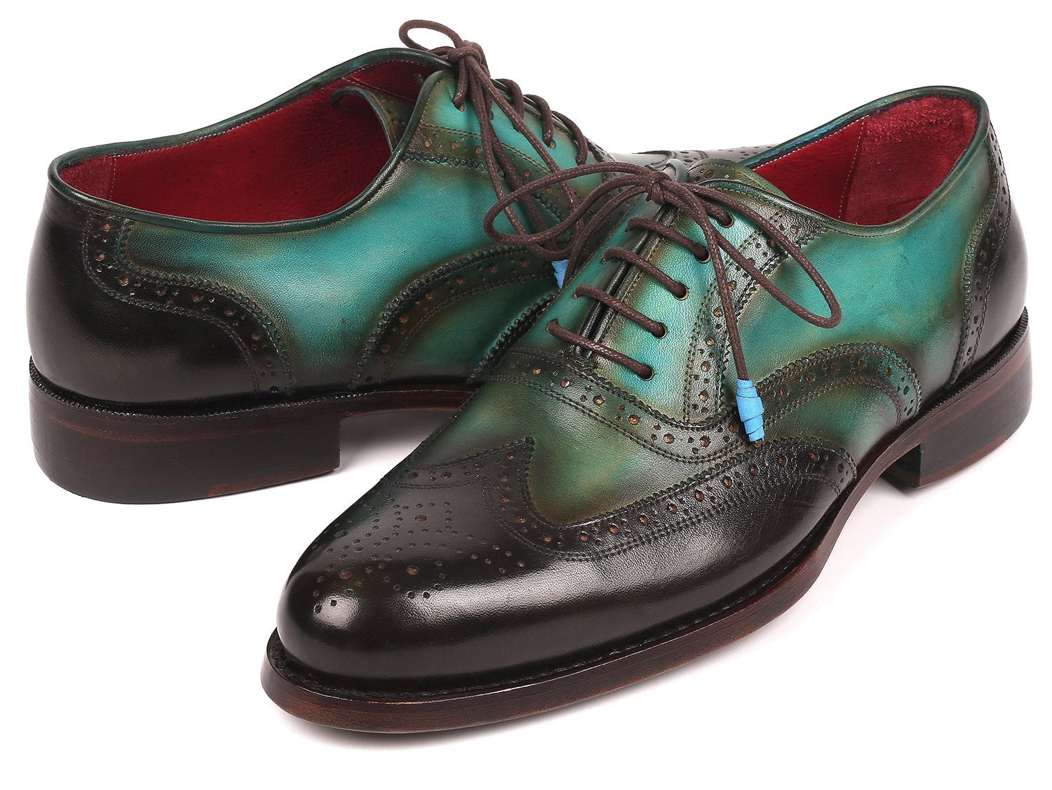 Paul Parkman Brown & Green Wingtip Oxfords Goodyear Welted (ID#027-BRWGRN)