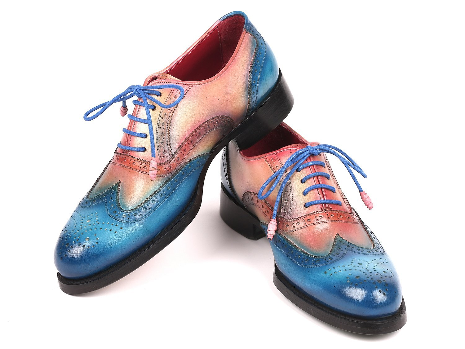 Paul Parkman Blue & Pink Men's Wingtip Oxfords Goodyear Welted (ID#027-BLUPNK)