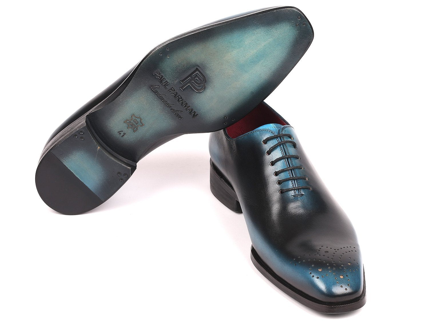 Paul Parkman Men's Black & Blue Wholecut Oxfords (ID#KR884BLU)