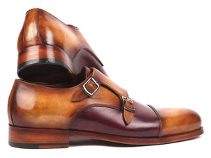 Paul Parkman Men's Captoe Double Monkstraps Brown & Purple (ID#045BP17)