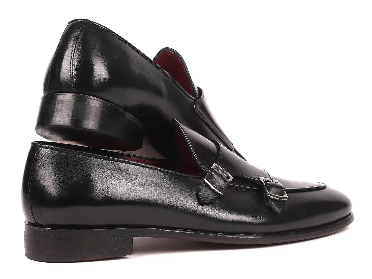 Paul Parkman Men's Black Double Monkstrap Shoes (ID#HT82BLK)