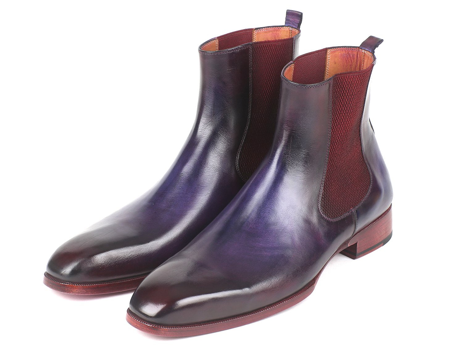Paul Parkman Navy & Purple Chelsea Boots (ID#BT552PUR)