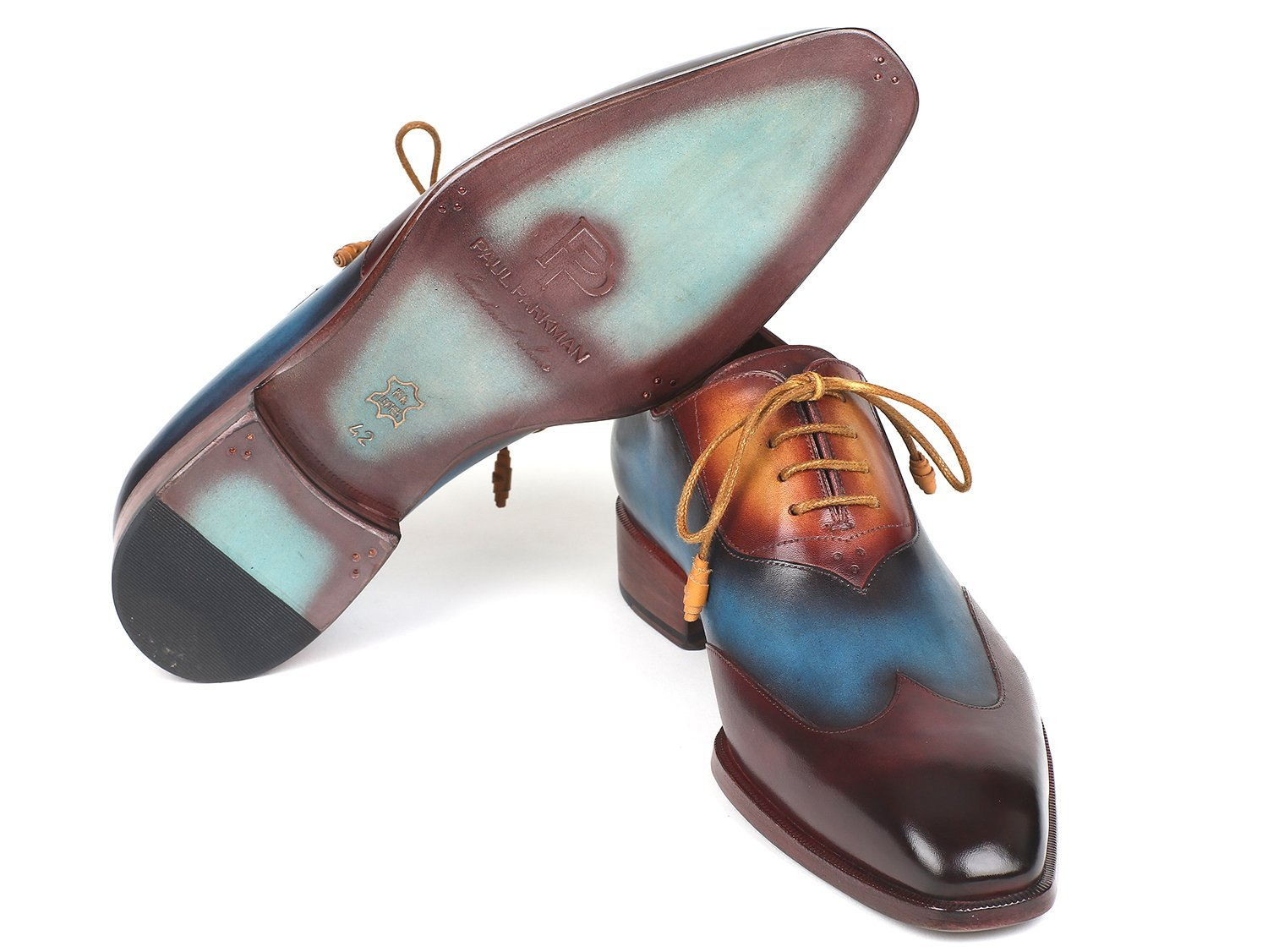 Paul Parkman Three Tone Wingtip Oxfords Bordeaux & Blue & Camel (ID#AL3249TU)