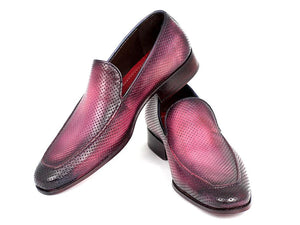 Paul Parkman Perforated Leather Loafers Purple (ID#874-PURP)