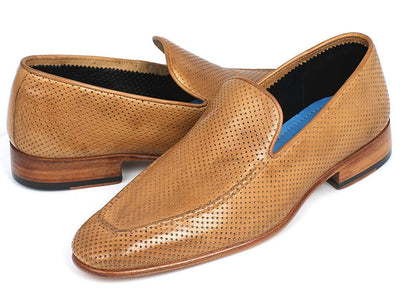 Men Fashion - Paul Parkman Perforated Leather Loafers Beige