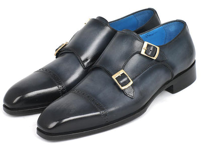 Paul Parkman Captoe Double Monkstraps Navy