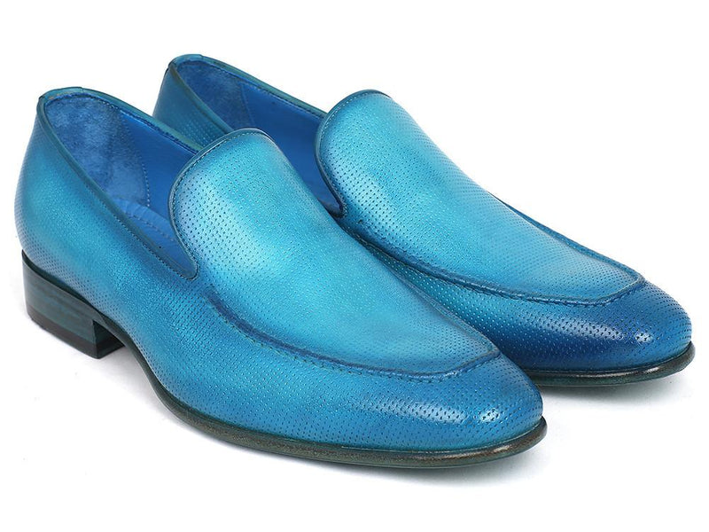 Men Fashion - Paul Parkman Perforated Leather Loafers Turquoise