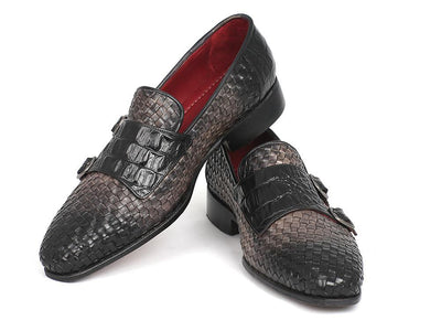 Paul Parkman Gray Woven & Croc Embossed Monkstraps