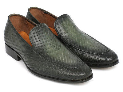 Men Fashion - Paul Parkman Perforated Leather Loafers Green