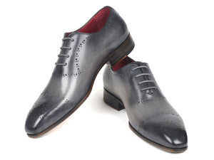 Paul Parkman Grey Hand-Painted Classic Brogues (ID#ZLS34GRY)