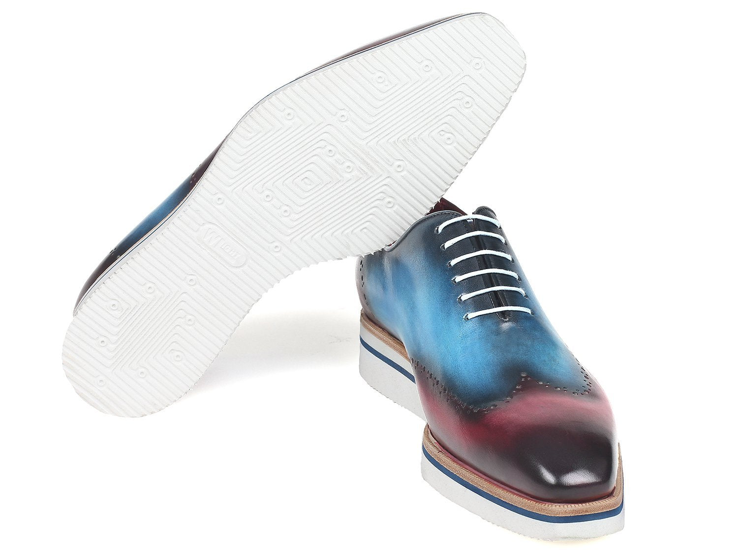 Paul Parkman Men's Smart Casual Wingtip Oxfords Blue & Purple (ID#187-BLU-PRP)