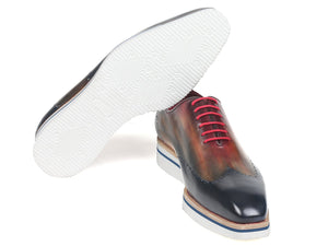 Paul Parkman Men's Smart Casual Wingtip Oxfords Multi-color (ID#187-MIX-NVY)