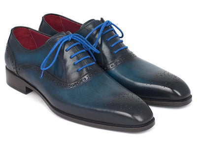 Paul Parkman Men's Blue & Navy Medallion Toe Oxfords