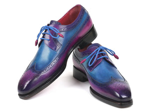 Paul Parkman Goodyear Welted Wingtip Derby Shoes Purple & Blue (ID#511V63)